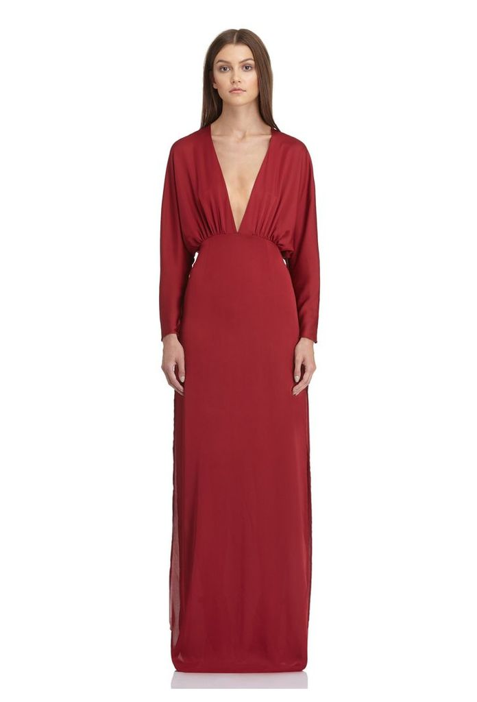 Madison Deep Plunge Maxi Dress - Berry Rust