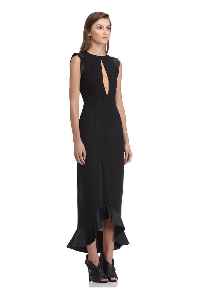 Pierre Frill Hem Midi Dress - Black