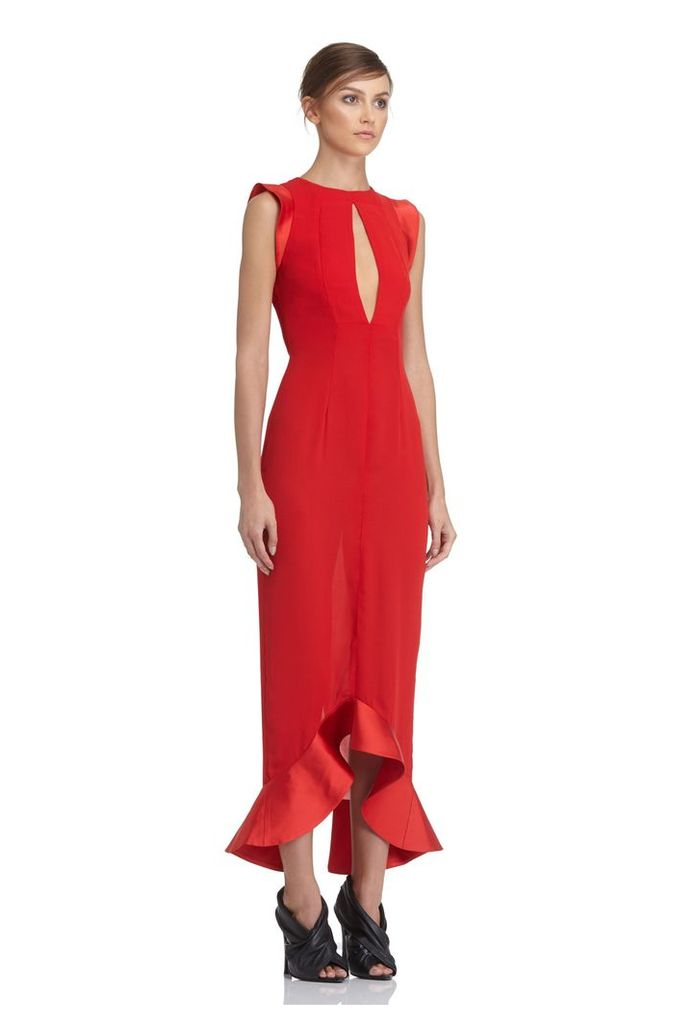 Pierre Frill Hem Midi Dress - Red