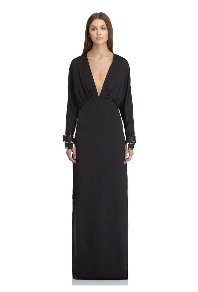 Madison Deep Plunge Maxi Dress - Black