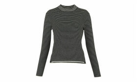 Stripe Grown On Neck Knit