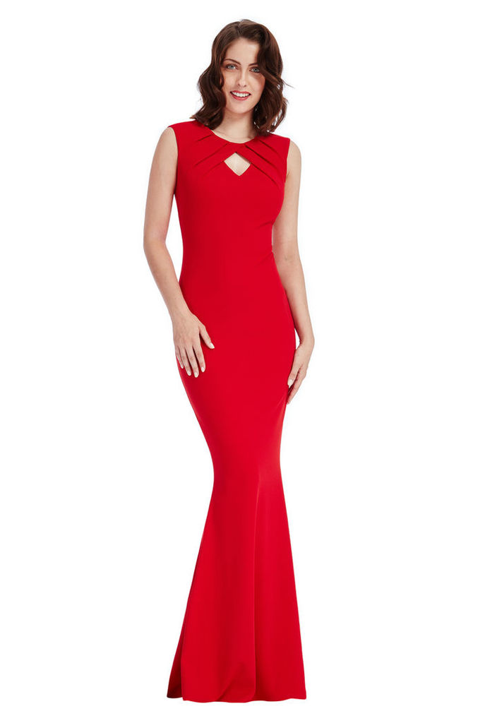 Pleated Keyhole Maxi Dress - Red