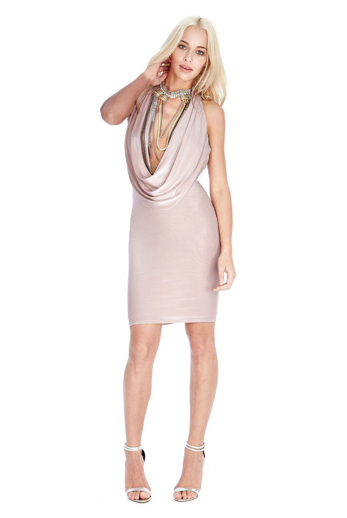 Cowl Neck Mini Dress - Nude