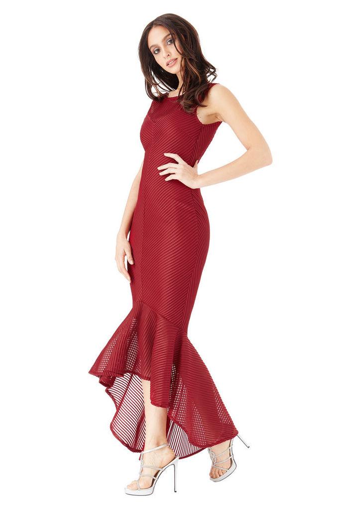 Textured Fishtail Maxi Dress - Wine
