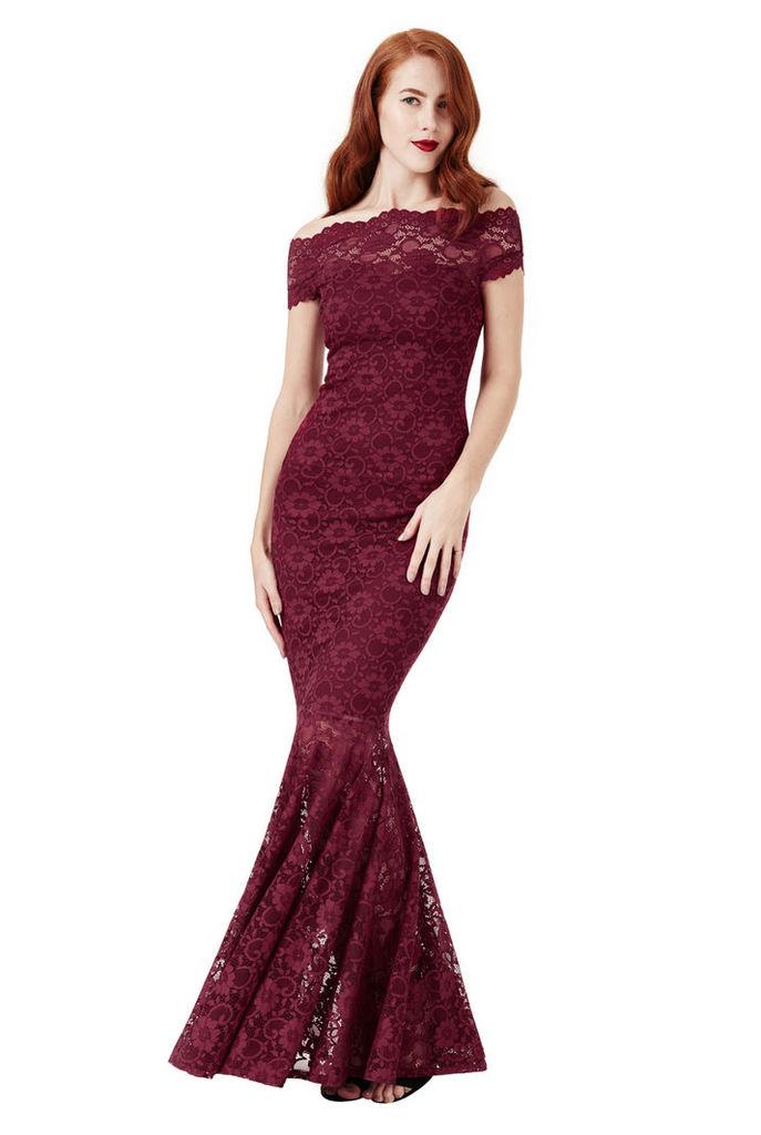 Bardot Lace Maxi Dress - Wine