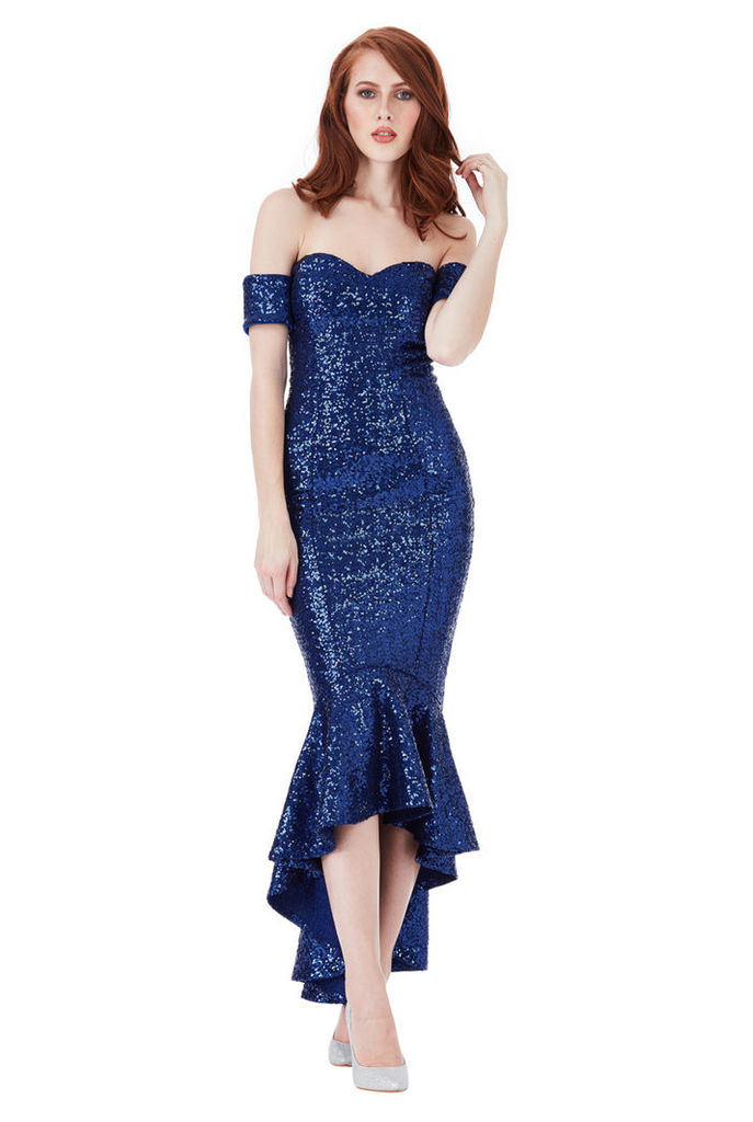 Sequin Bardot Peplum Maxi Dress - Royal Blue