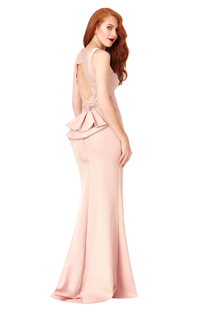 Open Back Lace Maxi Dress with Frill Detail - Nude