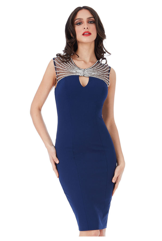 Embellished Neckline Fitted Midi Dress - Navy