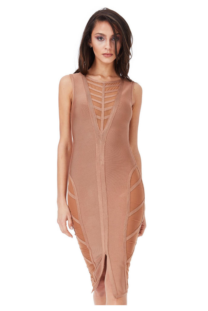 Deep V Neck Cut Out Bodycon Dress - Tan