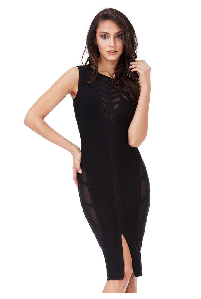 Deep V Neck Cut Out Bodycon Dress - Black