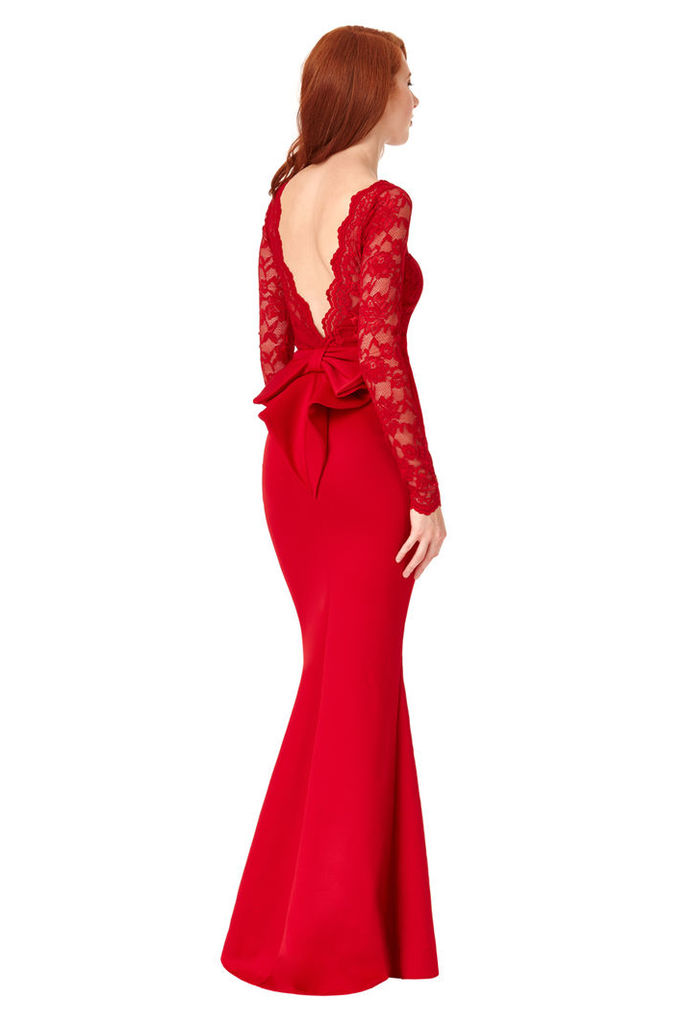 Open Back Lace Maxi Dress with Bow Detail - Red
