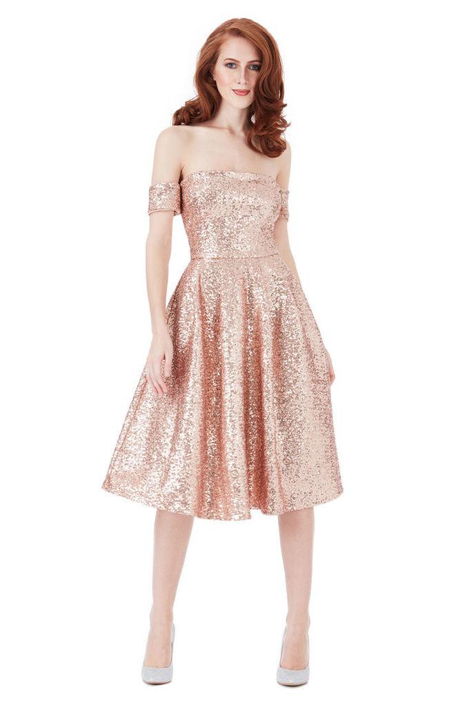 Sequin Bardot Midi Dress - Champagne