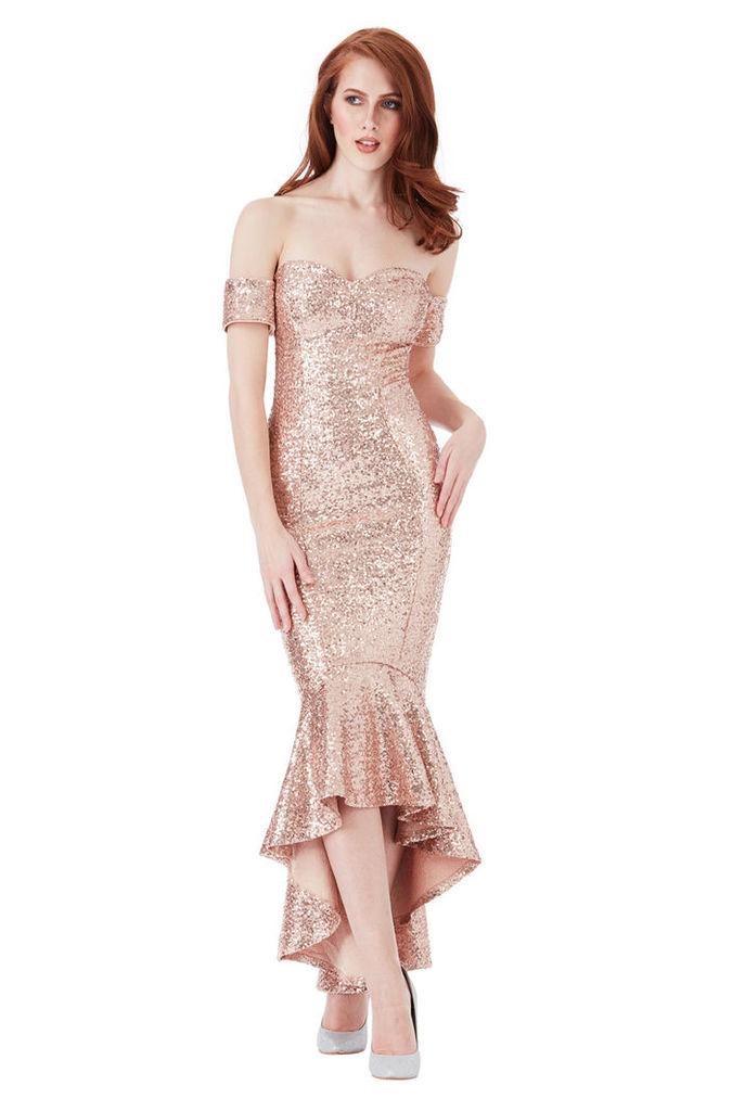 Sequin Bardot Peplum Maxi Dress - Champagne
