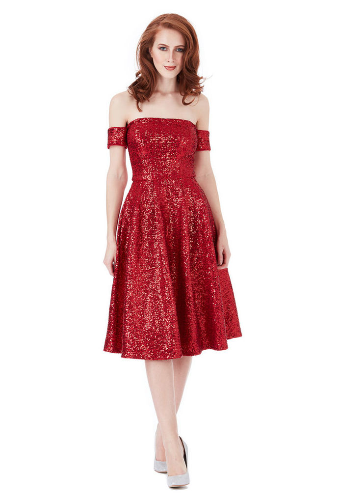 Sequin Bardot Midi Dress - Red