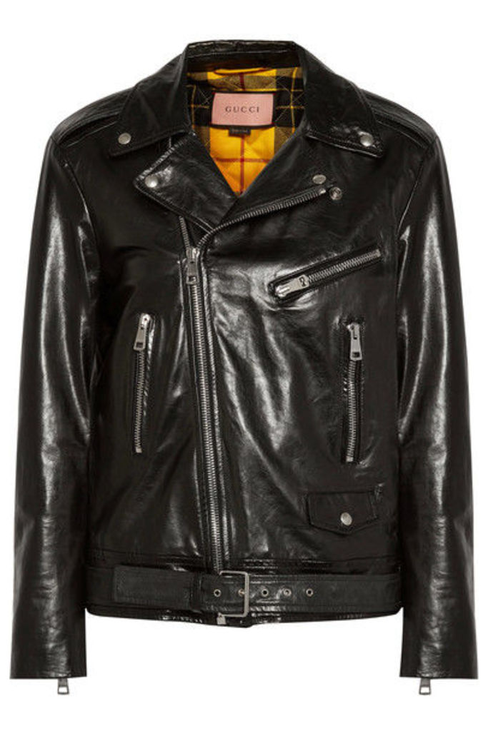 Gucci - Painted Leather Biker Jacket - Black