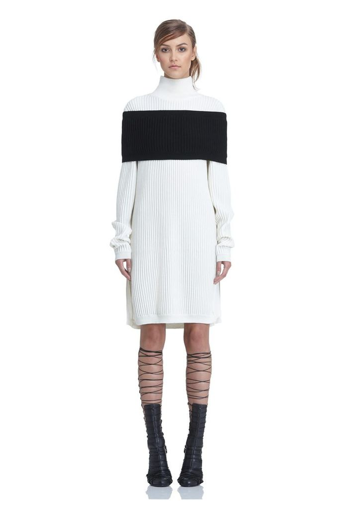 Emile High Neck Knitted Dress - Cream / Black