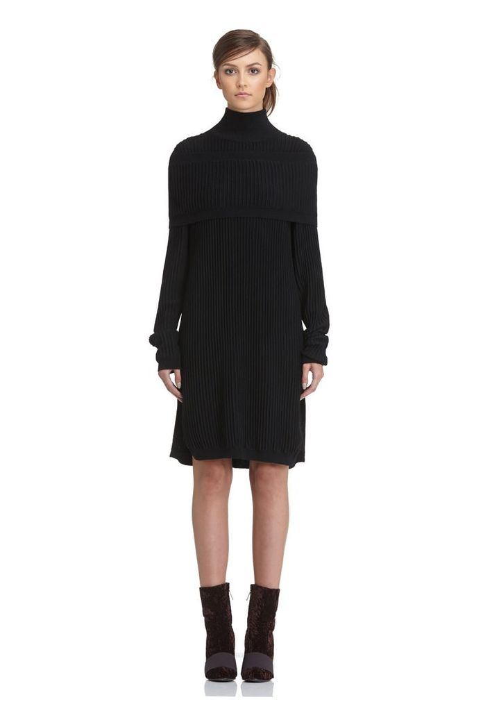 Emile High Neck Knitted Dress - Black
