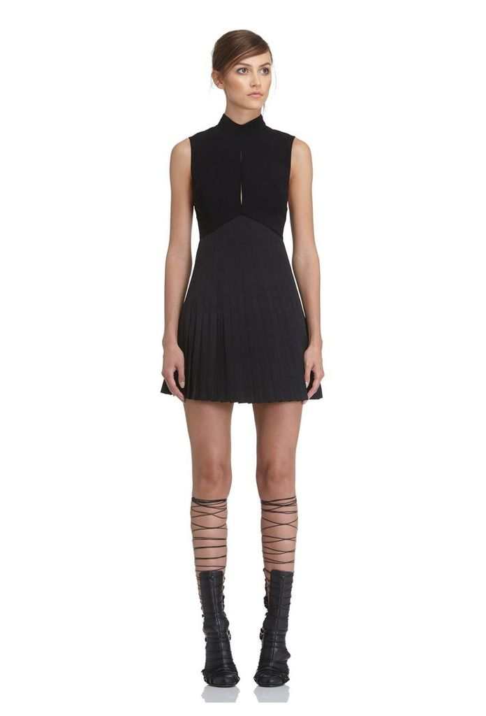 Tiami Pleated Mini Dress - Black