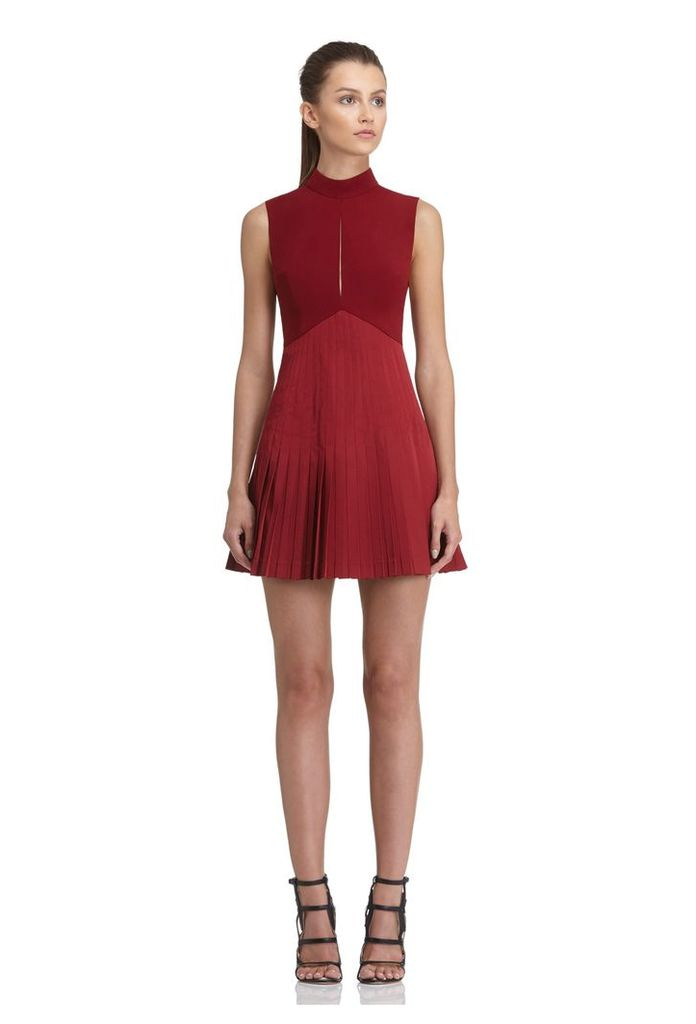 Tiami Pleated Mini Dress - Berry Rust