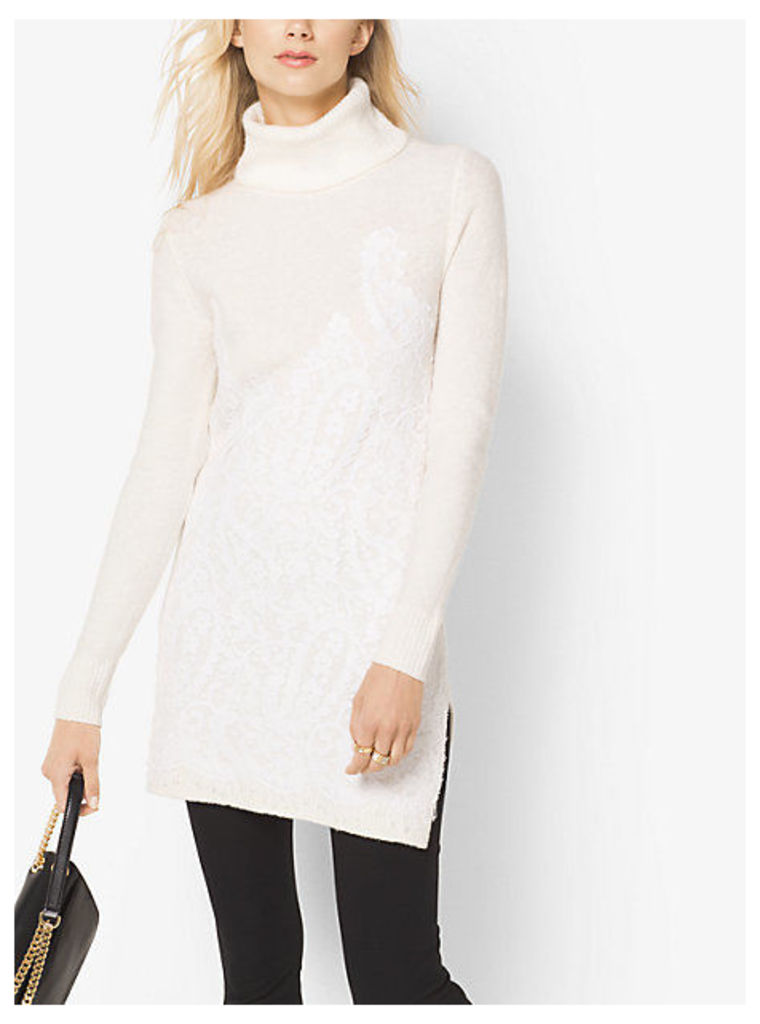 Lace-Embroidered Turtleneck Tunic