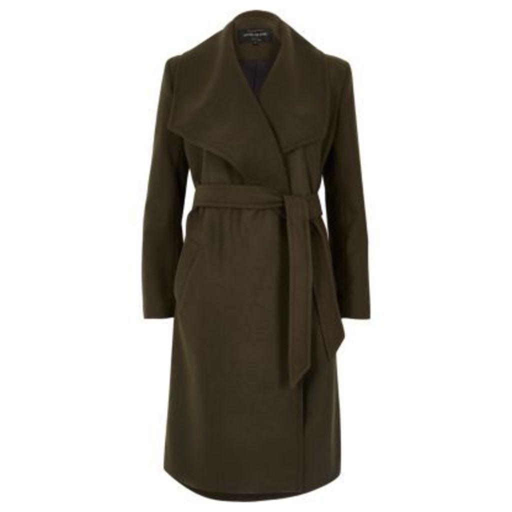 River Island Womens Dark Khaki green robe coat