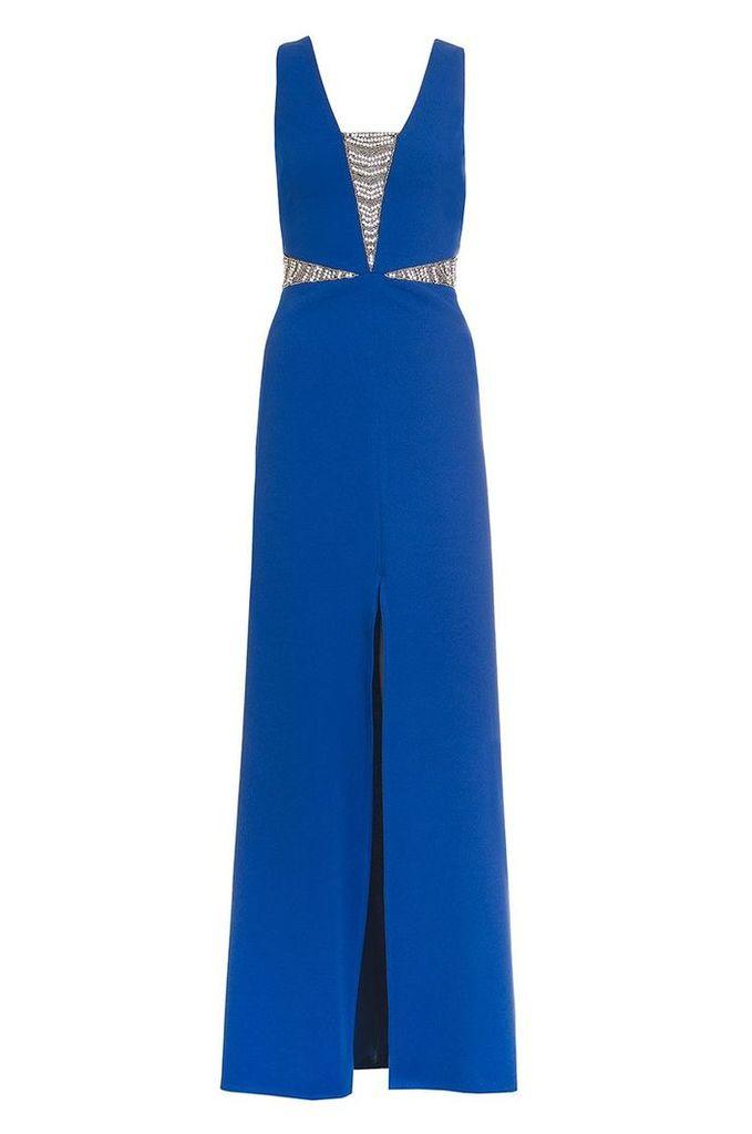 Quiz Blue Embellished Split Maxi Dress, Blue
