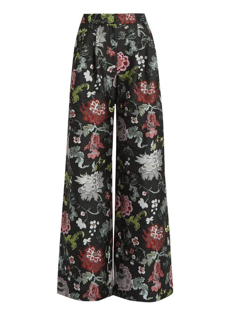 Floral-jacquard wide-leg trousers
