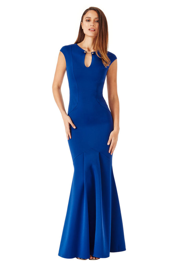 Keyhole Fishtail Maxi Dress with Metal Bar Detail - Royal Blue