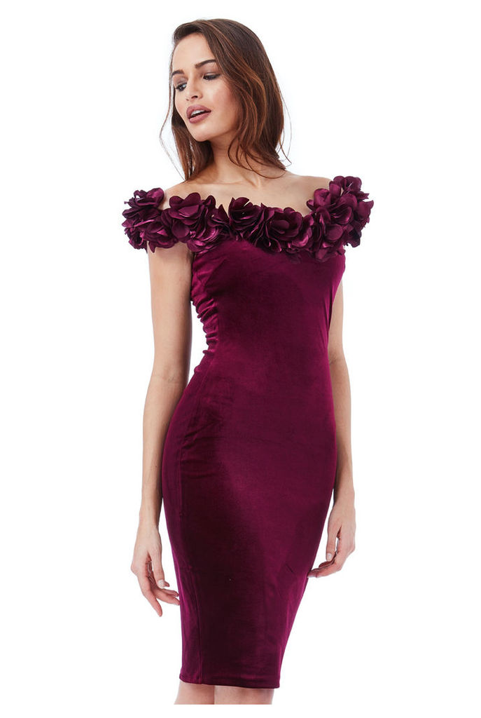 Velvet Midi Dress with Flower Neckline - Wine