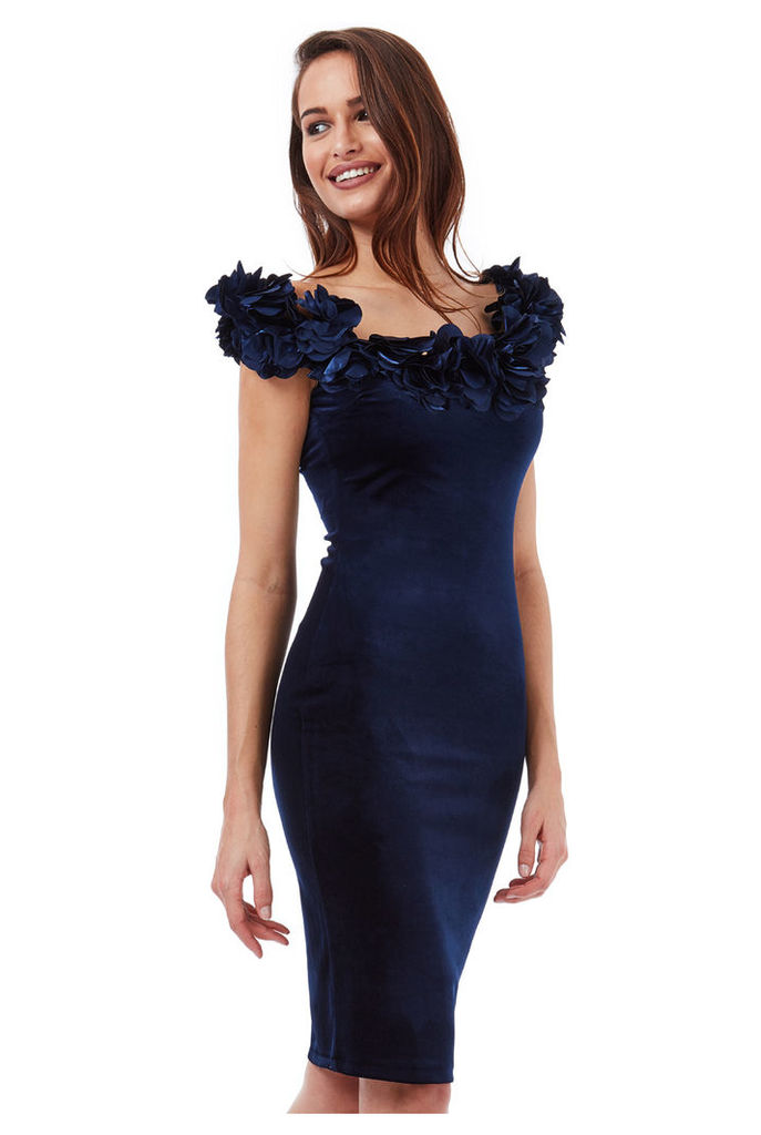 Velvet Midi Dress with Flower Neckline - Navy