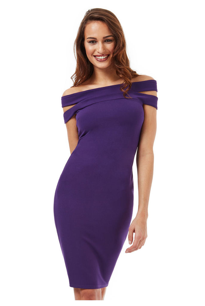Double Bardot Midi Dress - Purple