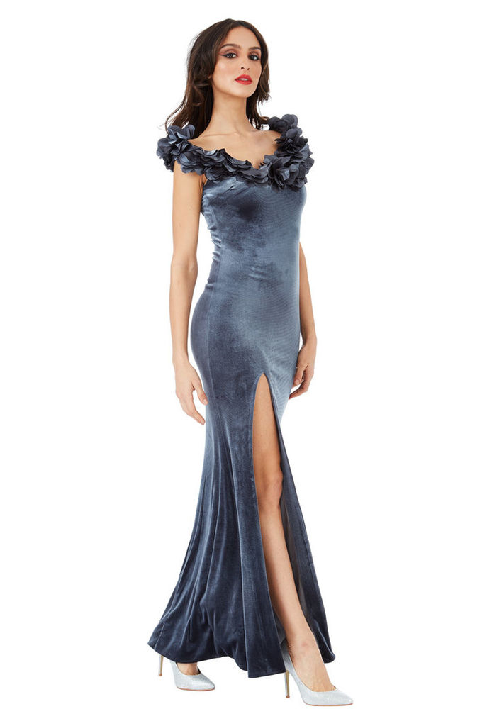 Velvet Maxi Dress with Flower Neckline - Silver