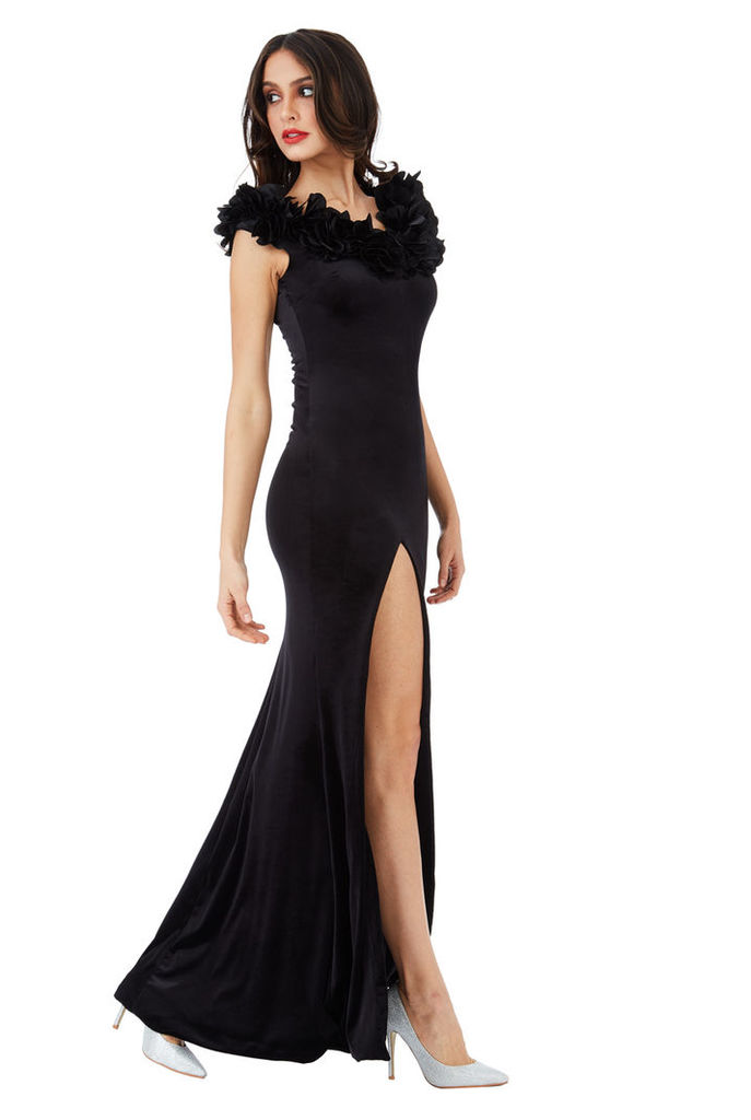 Velvet Maxi Dress with Flower Neckline - Black