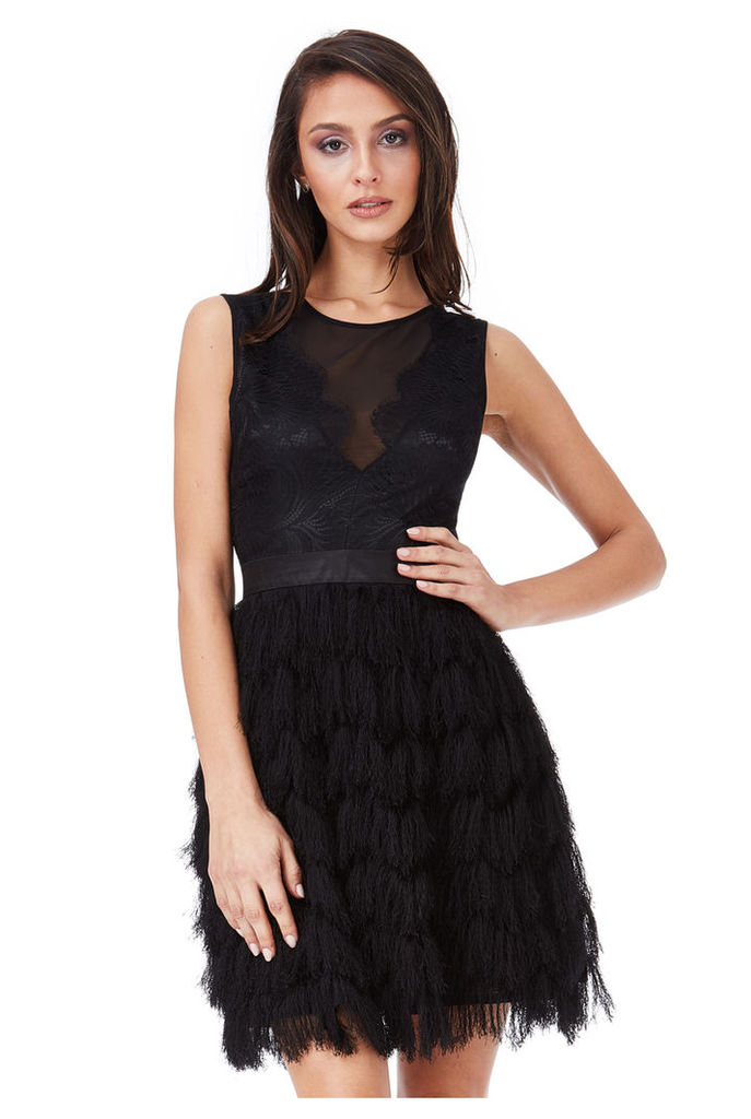 Fringed Mini Dress with Lace Detail - Black