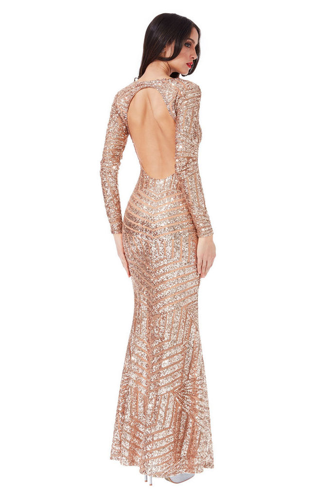 Long Sleeved Open Back Sequin Maxi Dress - Champagne