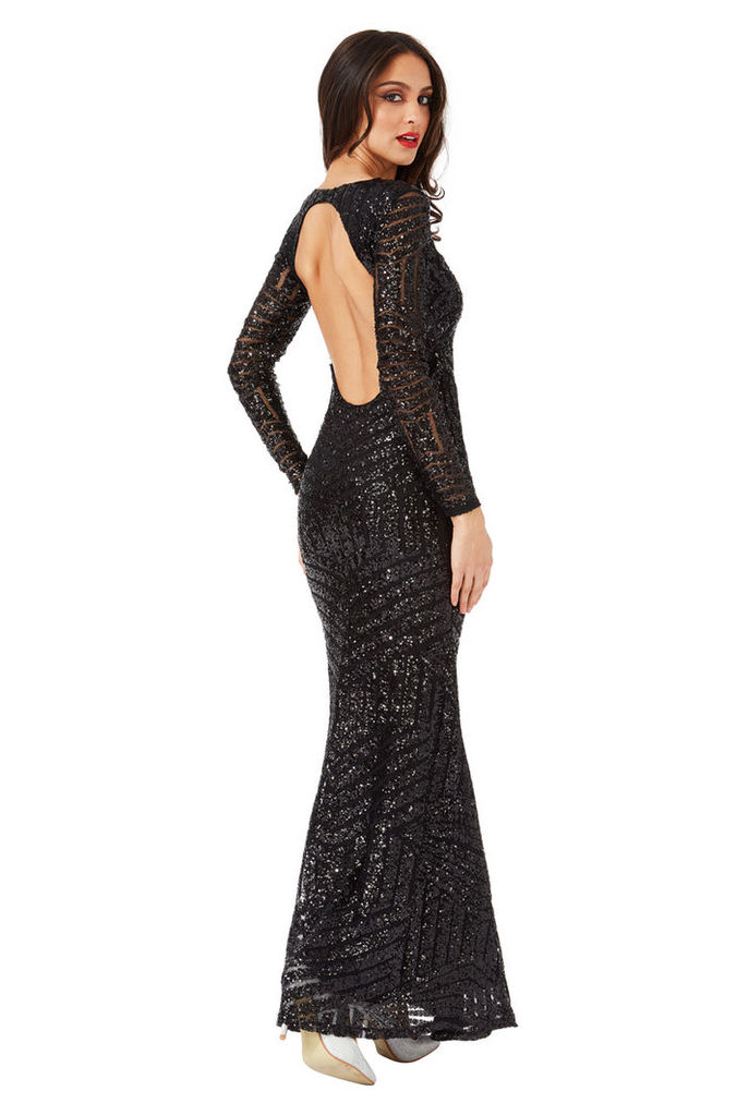 Long Sleeved Open Back Sequin Maxi Dress - Black