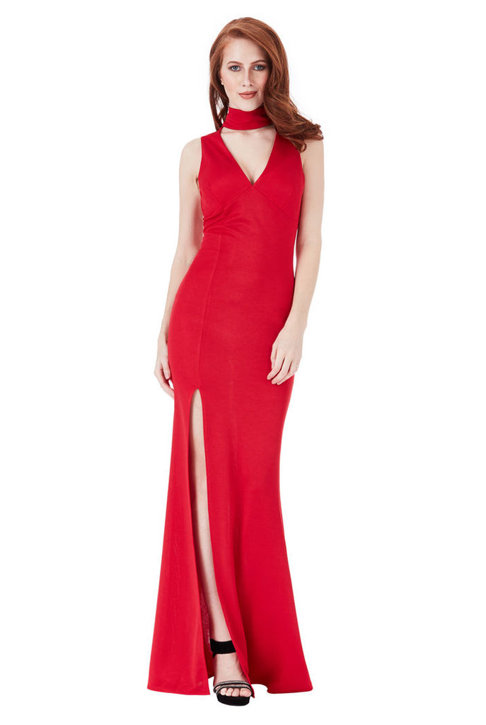V Cut Out High Neck Maxi Dress with Split Detail - Red