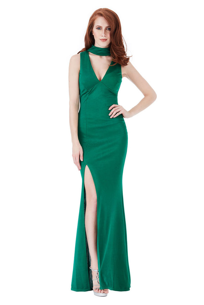 V Cut Out High Neck Maxi Dress with Split Detail - Emerald