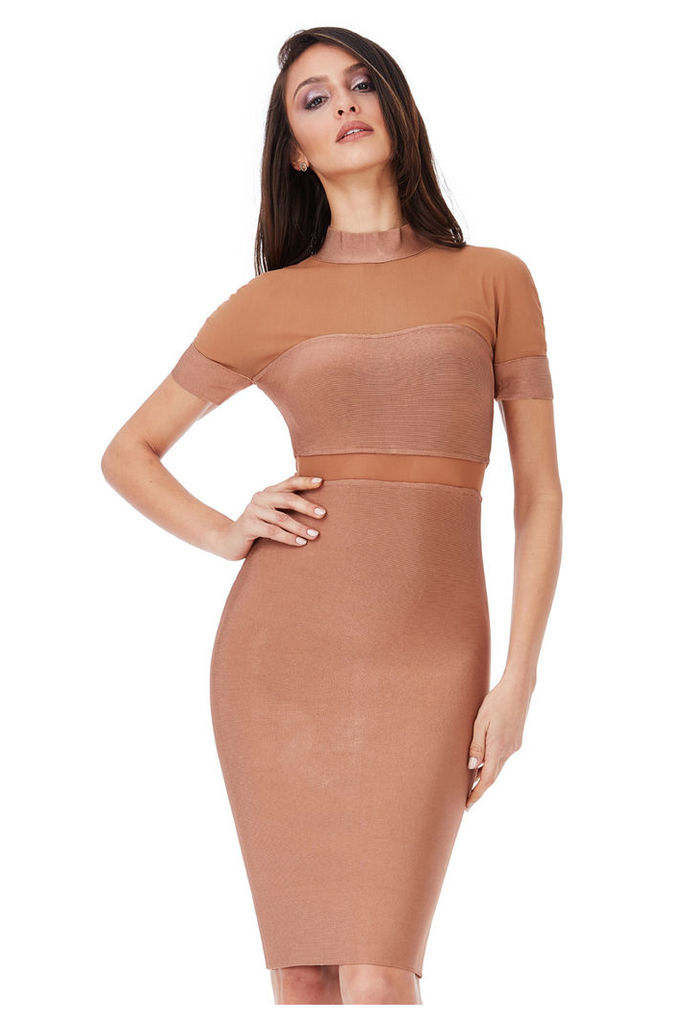 Short Sleeved Cut Out Bodycon Dress - Tan