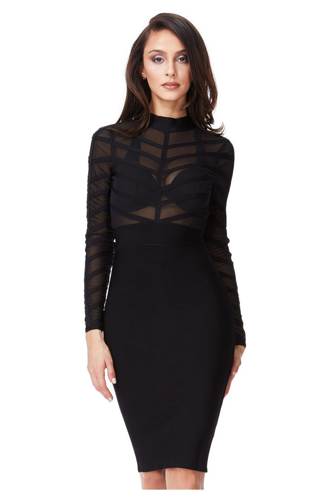 Long Sleeved Striped Mesh Bodycon Dress - Black
