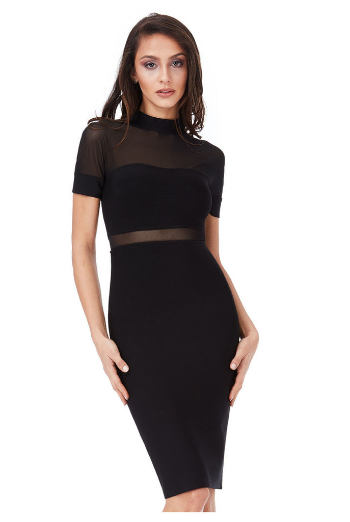 Short Sleeved Cut Out Bodycon Dress - Black