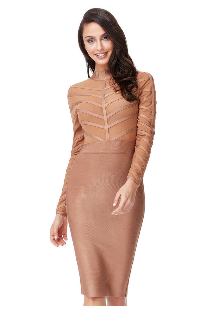 Long Sleeved Striped Mesh Bodycon Dress - Tan