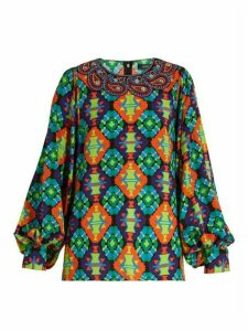 Andrew Gn - Geometric Print Silk Blend Crepe Blouse - Womens - Green Multi