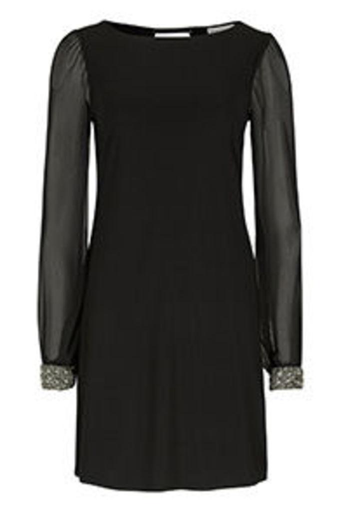 Black & Silver Embellished Cuffs Shift Dress
