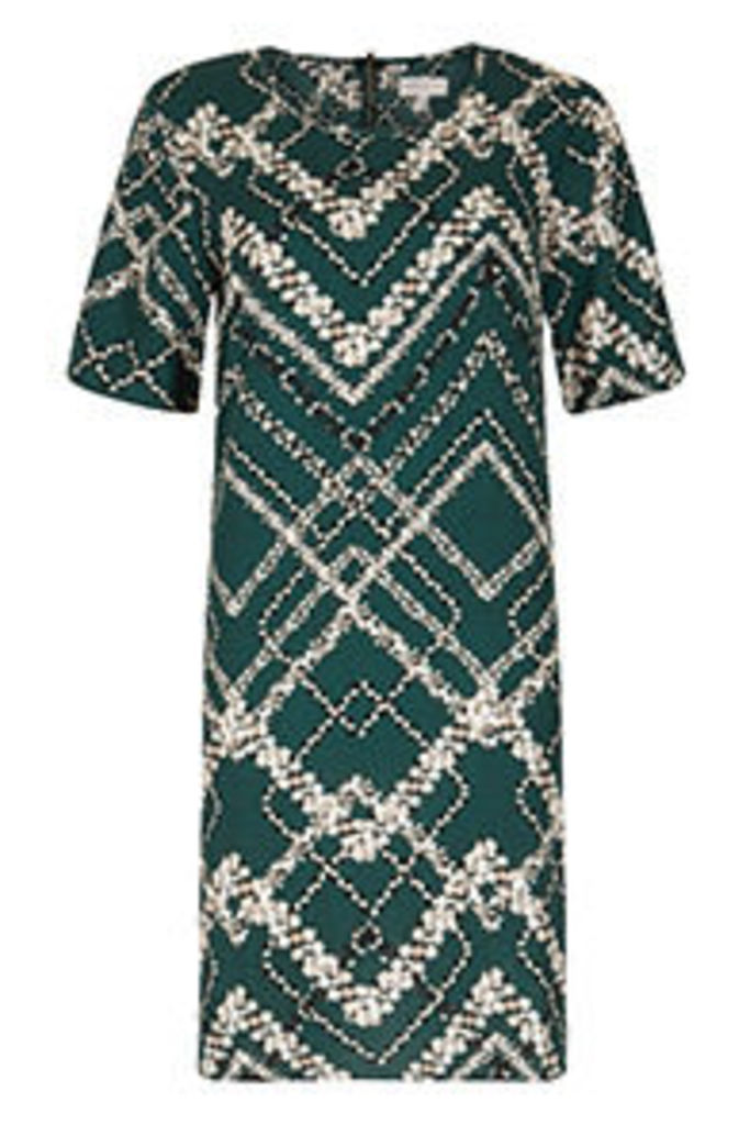 Green & White Floral Zigzag Print Swing Dress
