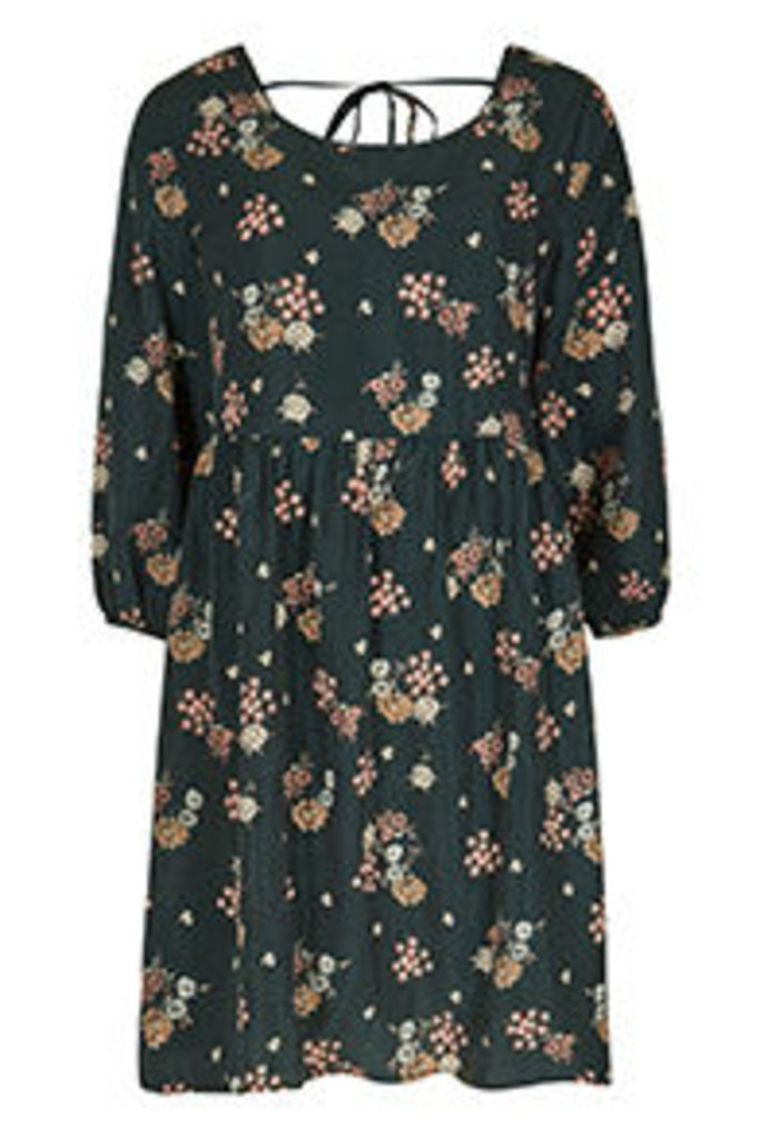 Green & Pink Ditsy Flower Print Tea Dress