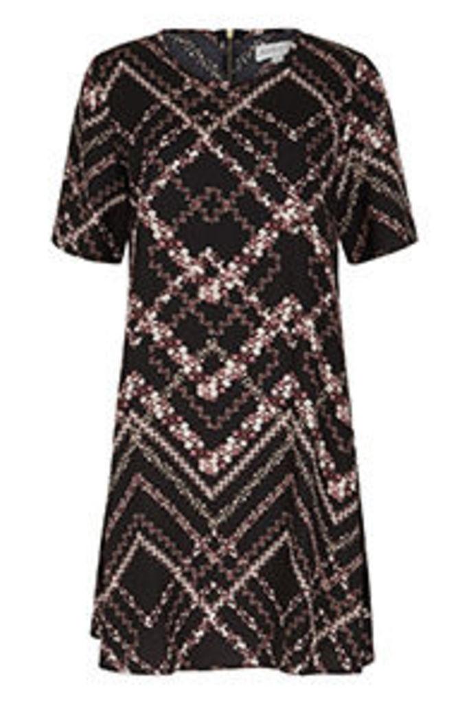 Black & Burgundy Floral Zigzag Print Swing Dress