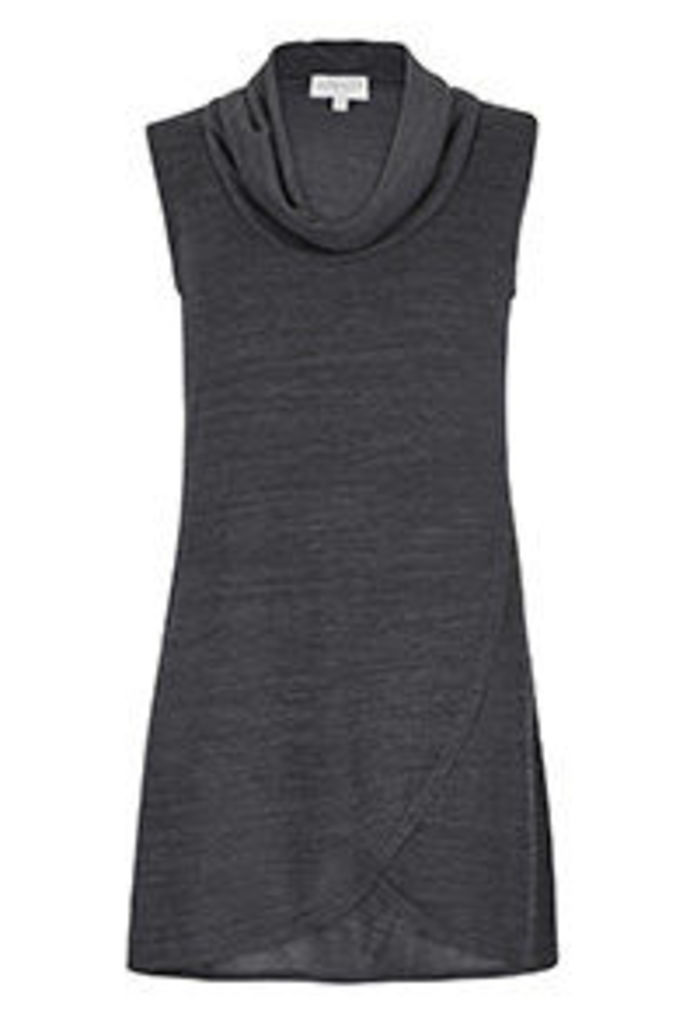 Charcoal Cowl Neck Wrap Over Tunic Dress