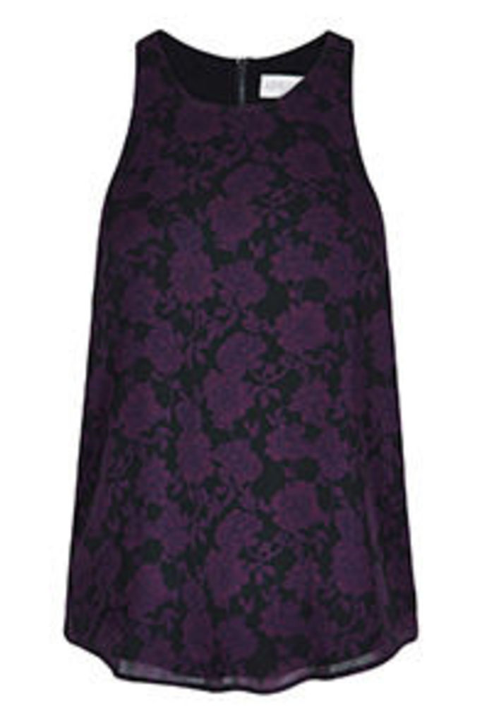 Black & Purple Rose Print Vest Top