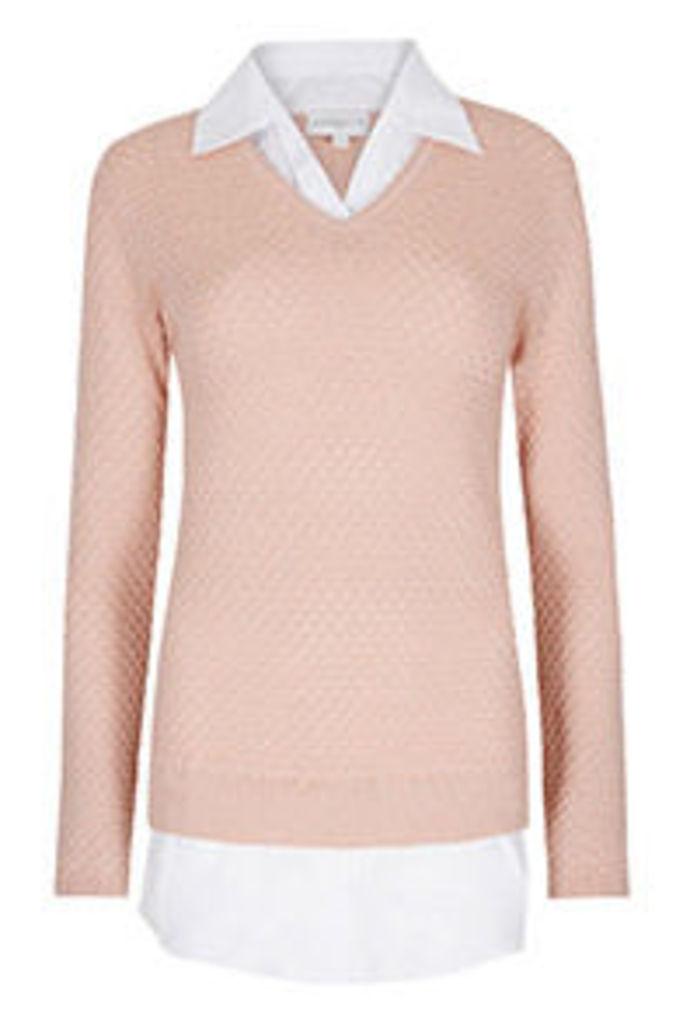 Pink 2 in 1 Shirt & Fine Knit Jumper